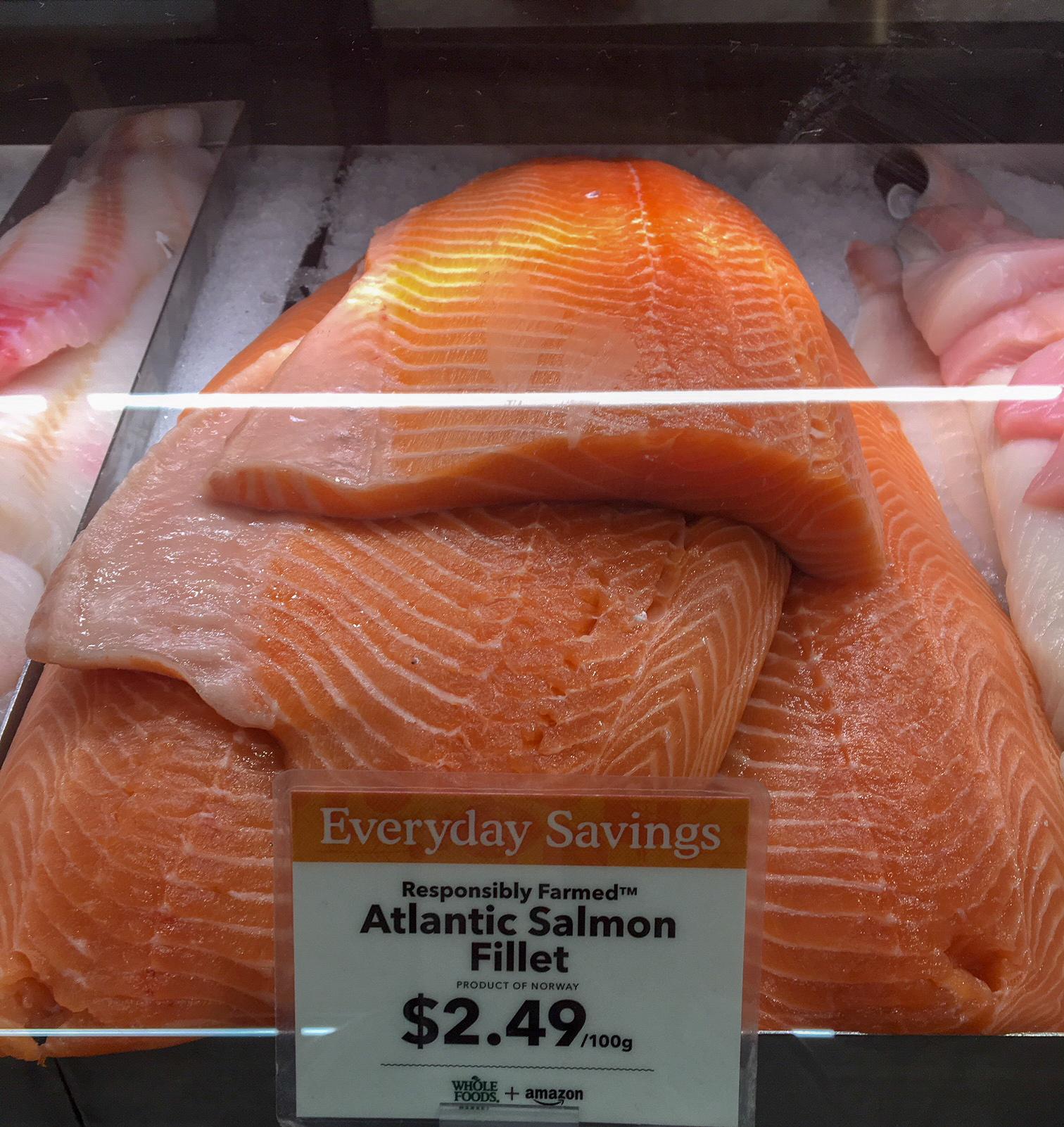 Farm-raised Atlantic salmon at Whole Foods Market - SeaWestNews